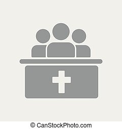 Group of Christians in church. Flat, clean, minimal and isolated vector illustration with minimal and modern design.