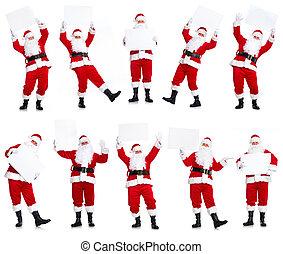 Group of Christmas Santa Claus with poster. - Happy Santa...
