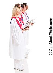church choir singers with hymnal