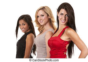 group of classy women - beautiful three women having fun on...