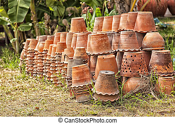 Group of clay pottery