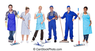Group Of Cleaners With Mop - Multi Racial Group Of Cleaners...