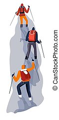 Group of climbers on rope in glacier - Mountain climbing ...