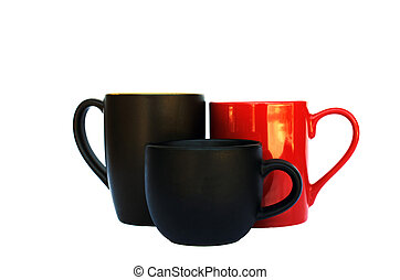 group of coffee cups on white backhrounds include clipping path