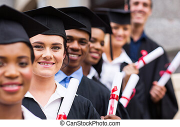 group of college graduates - group of happy college...