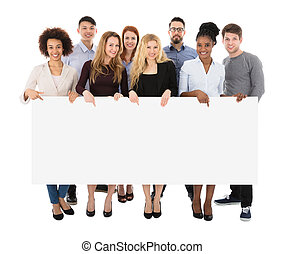 Group Of College Students Holding Long Billboard