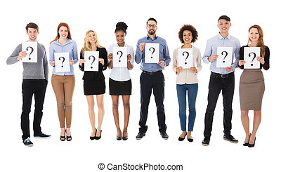 Group Of College Students With Question Mark Sign