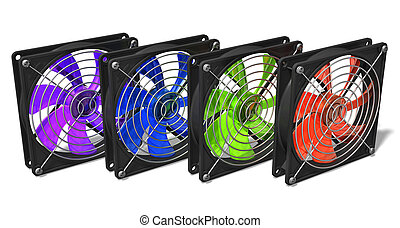 Group of color computer chassis and CPU cooler fans - 3D...