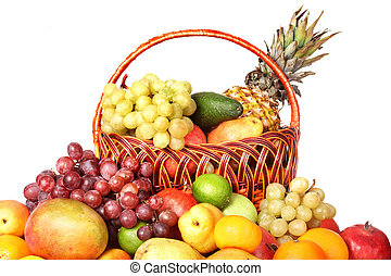 Group of color fruit in basket.
