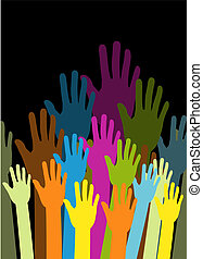 group of color hands on black background