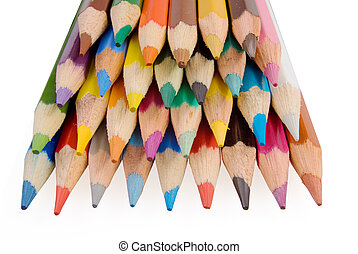 Group of color pencils on the white background