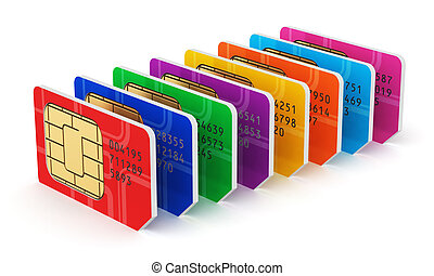 Group of color SIM cards - Creative abstract mobile...
