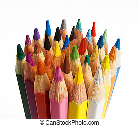 Group of colored pencils are on the white background