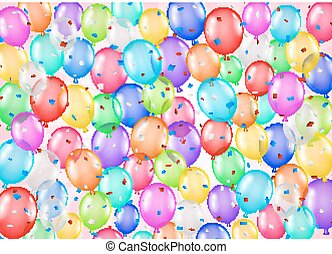 group of colorful balloons and confetti background