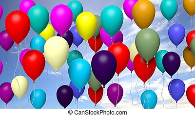Group of colorful balloons on blue sky