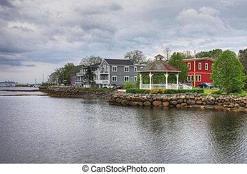 Group of Colorful buildings of Mahone Bay, Nova Scotia