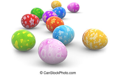 group of colorful easter eggs on white background