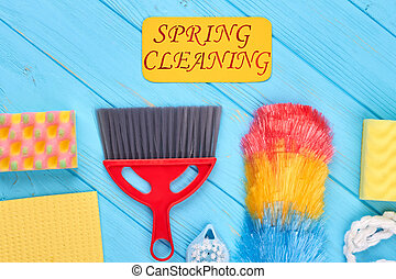 Group of colorful objects for house cleaning.