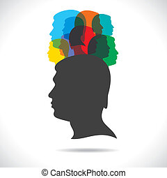 group of colorful people on head