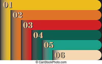 Group of colorful retro style six numbered labels - Group of...