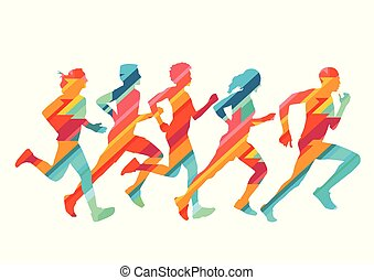 Group of colorful runners, illustration