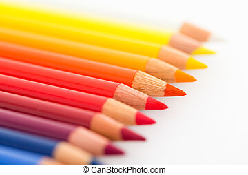 Group of Colourful pencils isolated on white