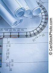 Group of construction blueprints building and architecture conce