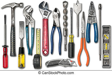 Group of construction tools on white