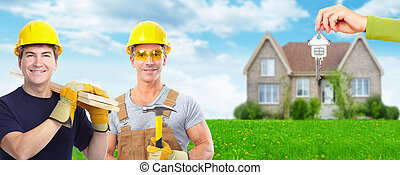 Group of construction workers. House renovation.