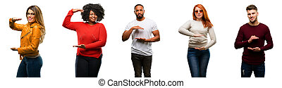 Group of cool people, woman and man holding something, size concept
