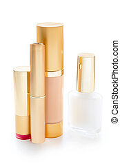 Group of cosmetics isolated with path