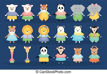 group of couples animals characters
