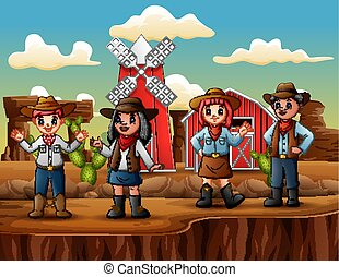 Group of cowboys and cowgirls in wild west farm background