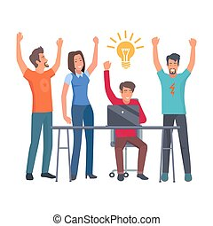 Group of Coworkers Have Idea Isolated Illustration