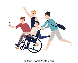 Group of crazy happy friends running, carrying boy sitting in wheelchair and making selfie. Friendship and support for man with physical impairment. Colored vector illustration in flat cartoon style.
