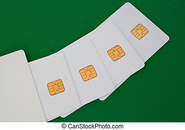 Group of credit card on the green desk.