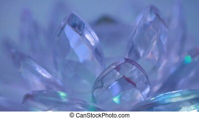 Group of crystals rotate around its axis