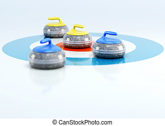 Group of curling stones in the center of the house on the ice. 3