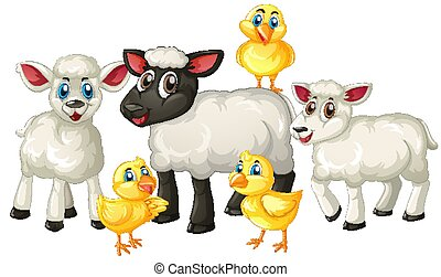 Group of cute animal farm cartoon character isolated