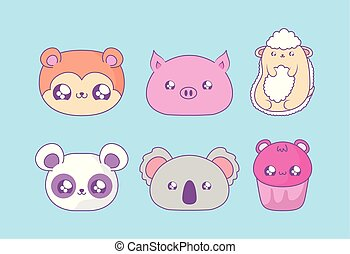group of cute animals baby with cupcake kawaii style