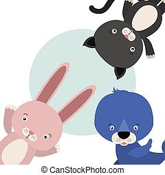 group of cute animals characters
