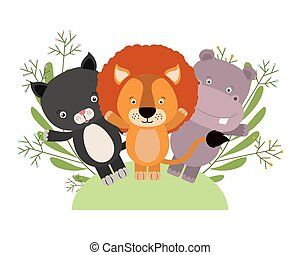 group of cute animals characters with wreath crowns