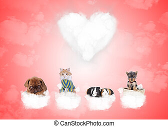 group of cute animals on love clouds