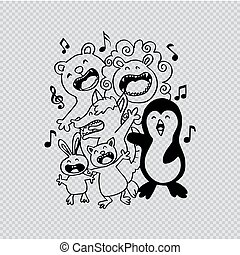Group of Cute animals singing.