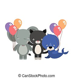 group of cute animals with balloons helium characters