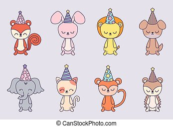 group of cute animals with hat party