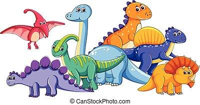 Group of cute dinosaur