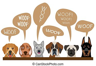 Group of cute dogs breeds vector illustration. Cartoon character pets with text woof woof isolated on white background