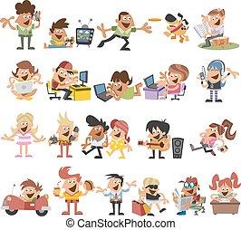 happy cartoon people