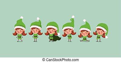 group of cute santa helpers characters